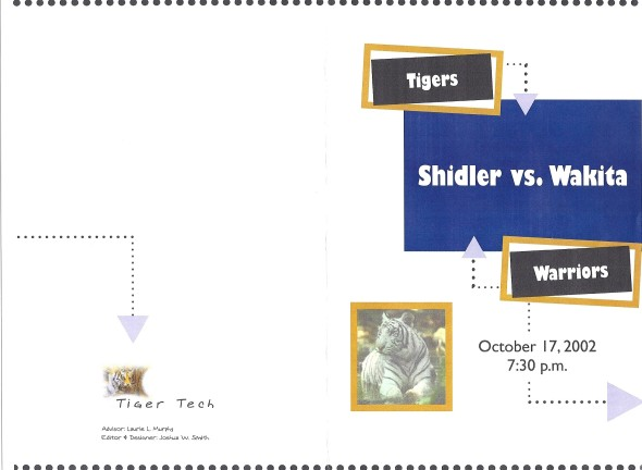 Front Cover of the 2002 Shidler Tigers Vs Wakita Football Game Program