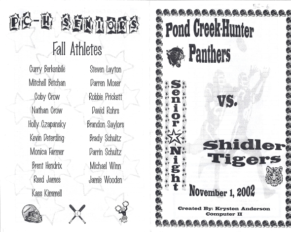 Front Cover of the 2002 Shidler Tigers Vs Pond Creek-Hunter Football Game Program