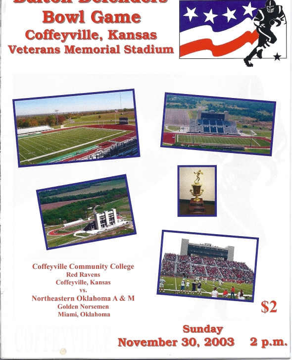 Front Cover of the 2003 Northeastern Oklahoma A&M Norsemen Vs Coffeyville Football Game Program