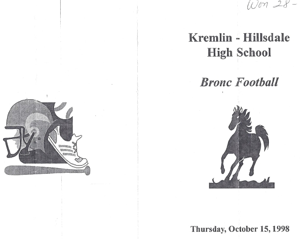 Front Cover of the 1998 Shidler High School Vs Kremlin Football Game Program