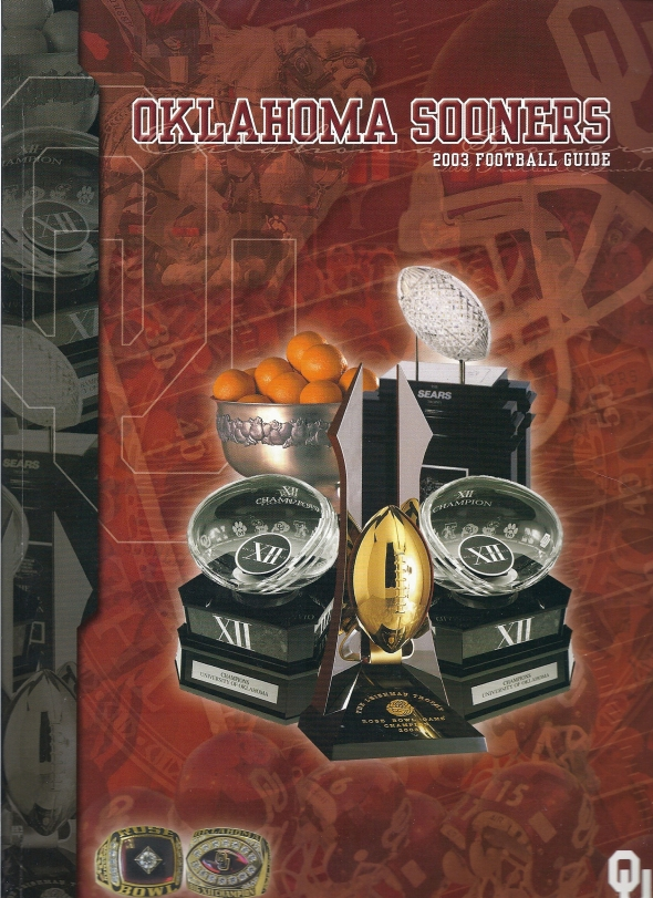 Front Cover of the 2003 Oklahoma Sooners Football Media Guide