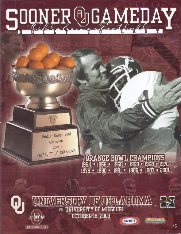 Front Cover of the 2003 Oklahoma Sooners Vs Missouri Football Game Program