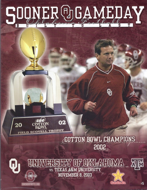 Front Cover of the 2003 Oklahoma Sooners Vs Texas A&M Football Game Program