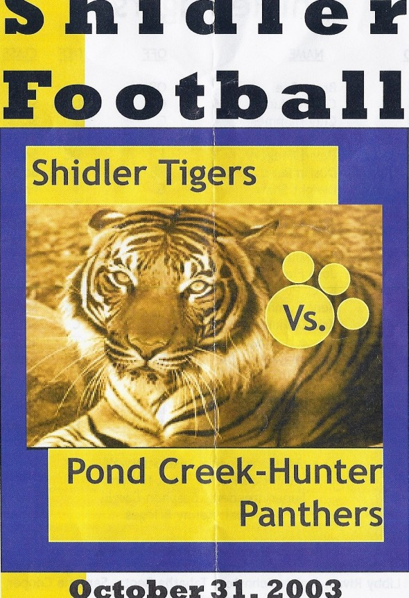 Front Cover of the 2003 Shidler Tigers Vs Pond Creek-Hunter Football Game Program