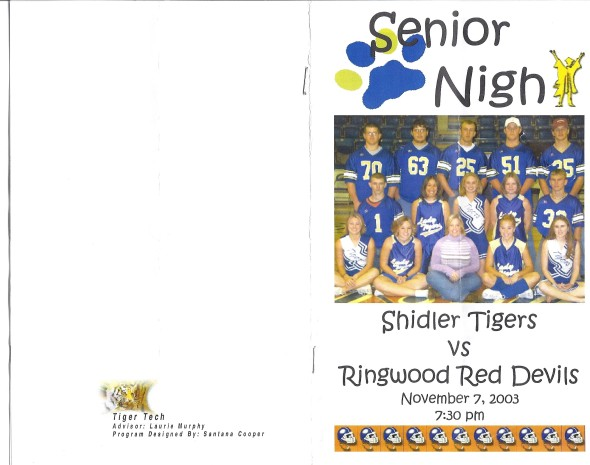 Front Cover of the 2003 Shidler Tigers Vs Ringwood Football Game Program
