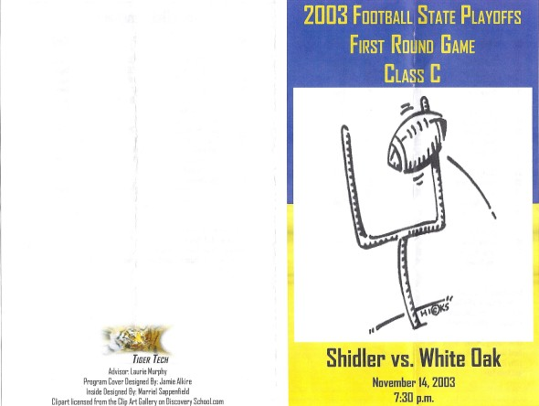 Front Cover of the 2003 Shidler Tigers Vs White Oak Football Game Program