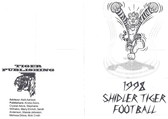 Front Cover of the 1998 Shidler High School Vs DCLA (Deer Creek-Lamont) Football Game Program
