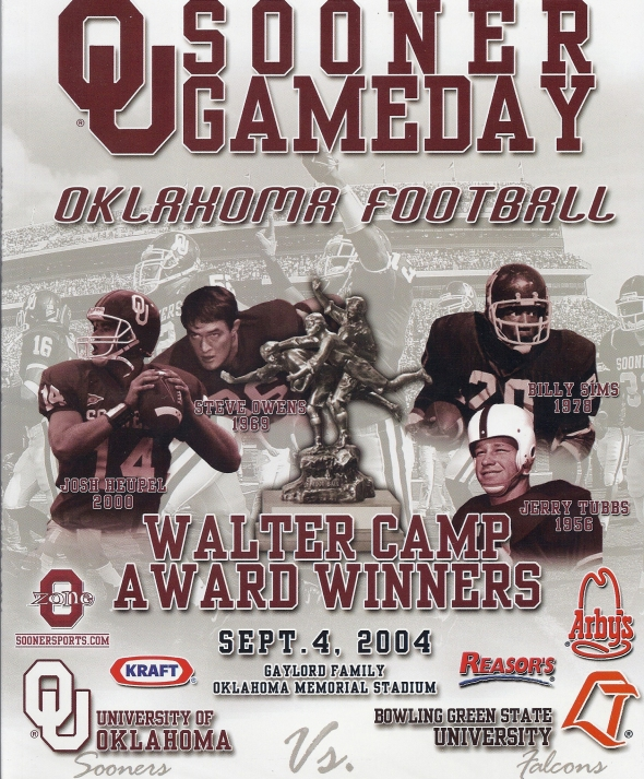 Front Cover of the 2004 Oklahoma Sooners Vs Bowling Green Football Game Program