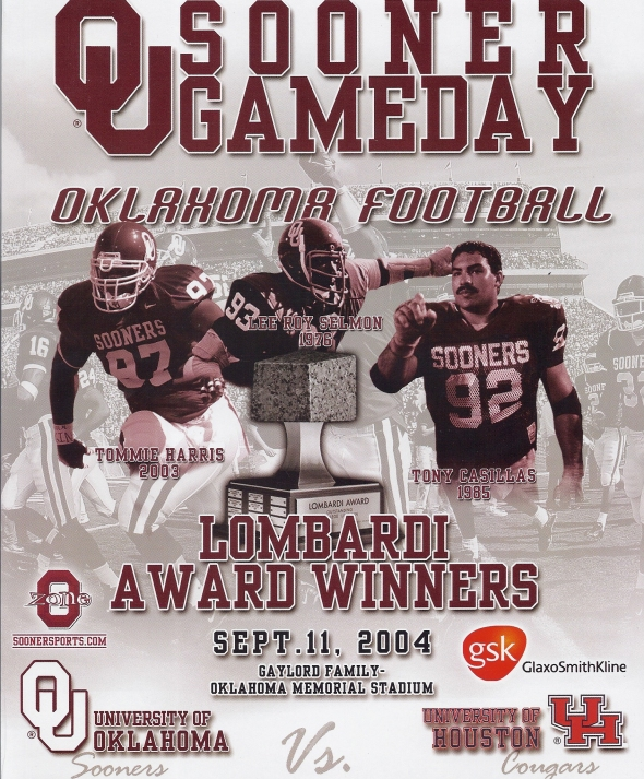 Front Cover of the 2004 Oklahoma Sooners Vs Houston Football Game Program
