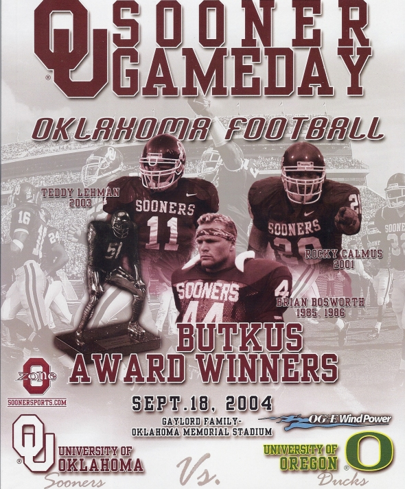 Front Cover of the 2004 Oklahoma Sooners Vs Oregon Football Game Program