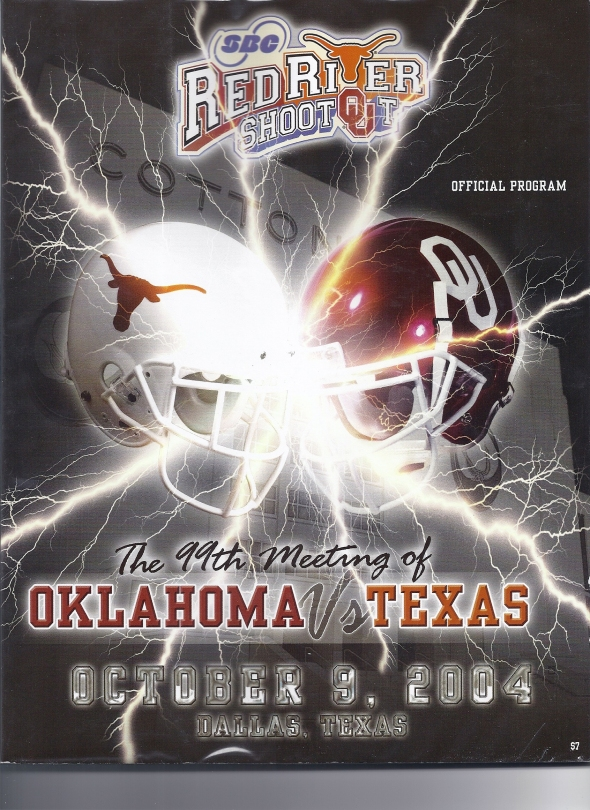 Front Cover of the 2004 Oklahoma Sooners Vs Texas Football Game Program