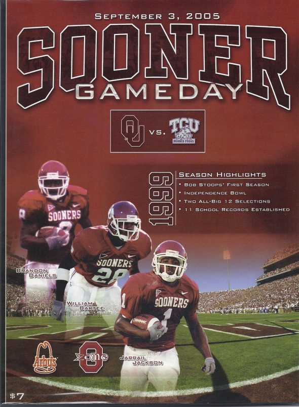 Front Cover of the 2005 Oklahoma Sooners Vs Texas Christian Football Game Program