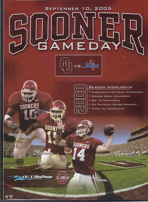 Front Cover of the 2005 Oklahoma Sooners Vs Tulsa Football Game Program