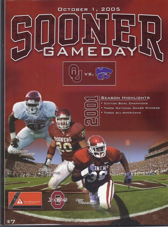 Front Cover of the 2005 Oklahoma Sooners Vs Kansas State Football Game Program