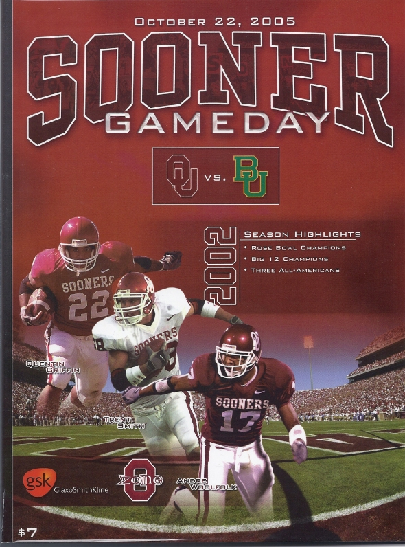 Front Cover of the 2005 Oklahoma Sooners Vs Baylor Football Game Program