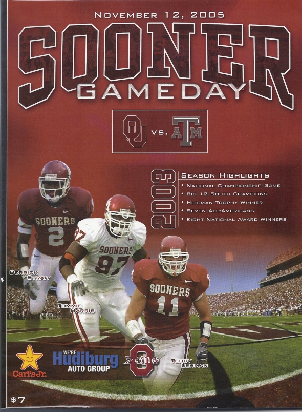Front Cover of the 2005 Oklahoma Sooners Vs Texas A&M Football Game Program
