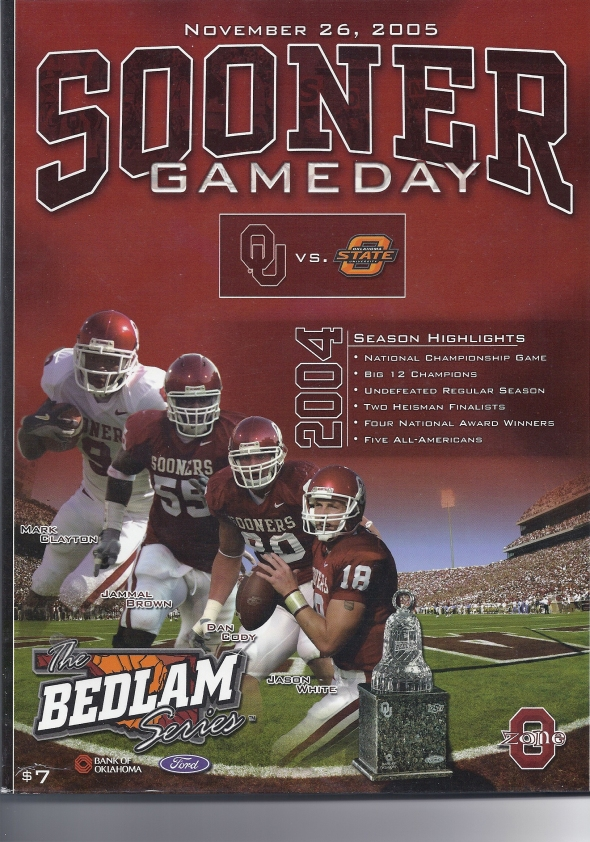 Front Cover of the 2005 Oklahoma Sooners Vs Oklahoma State Football Game Program