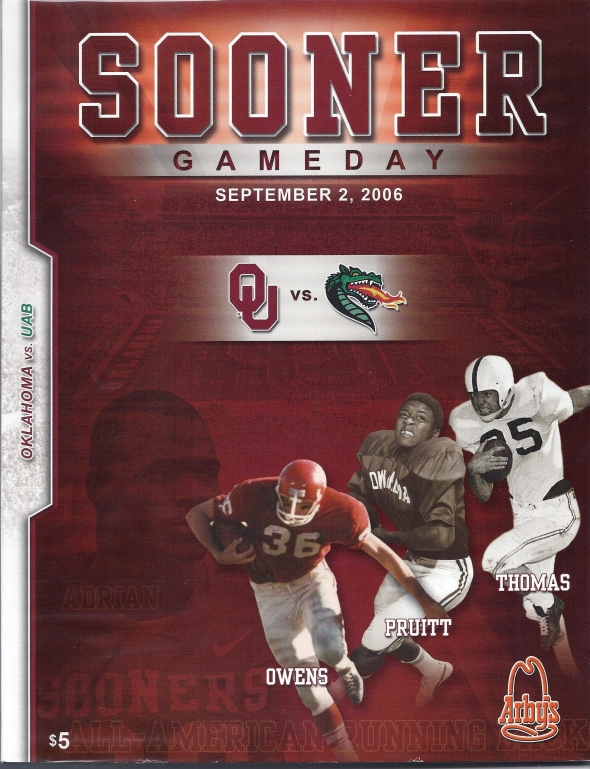 Front Cover of the 2006 Oklahoma Sooners Vs Alabama Birmingham Football Game Program
