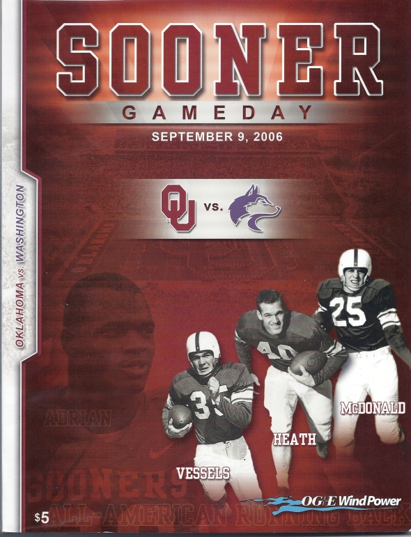 Front Cover of the 2006 Oklahoma Sooners Vs Washington Football Game Program