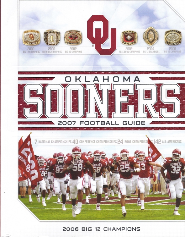 Front Cover of the 2007 Oklahoma Sooners Football Media Guide