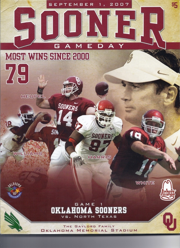 Front Cover of the 2007 Oklahoma Sooners Vs North Texas Football Game Program