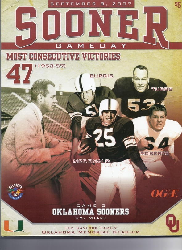 Front Cover of the 2007 Oklahoma Sooners Vs Miami Football Game Program