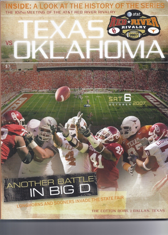 Front Cover of the 2007 Oklahoma Sooners Vs Texas Football Game Program