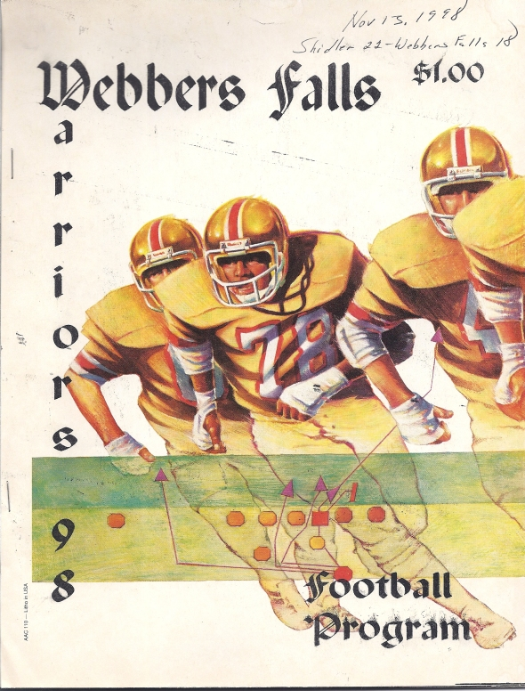 Front Cover of the 1998 Shidler High School Vs Webbers Falls Football Game Program
