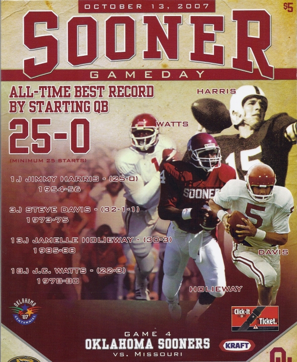 Front Cover of the 2007 Oklahoma Sooners Vs Missouri Football Game Program
