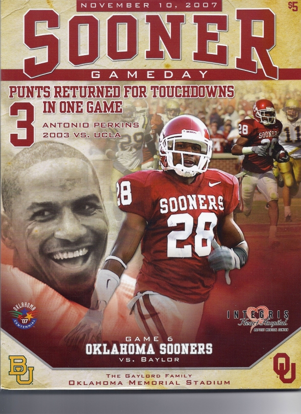 Front Cover of the 2007 Oklahoma Sooners Vs Baylor Football Game Program