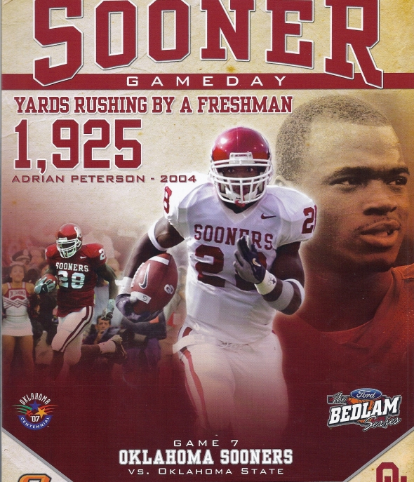 Front Cover of the 2007 Oklahoma Sooners Vs Oklahoma State Football Game Program