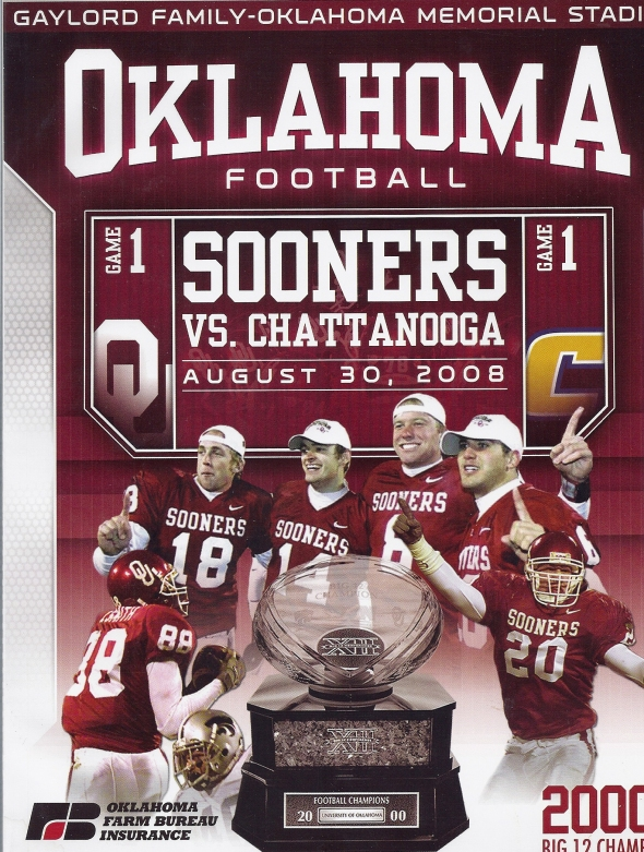 Front Cover of the 2008 Oklahoma Sooners Vs Chattanooga Football Game Program