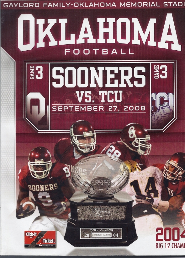 Front Cover of the 2008 Oklahoma Sooners Vs Texas Christian Football Game Program