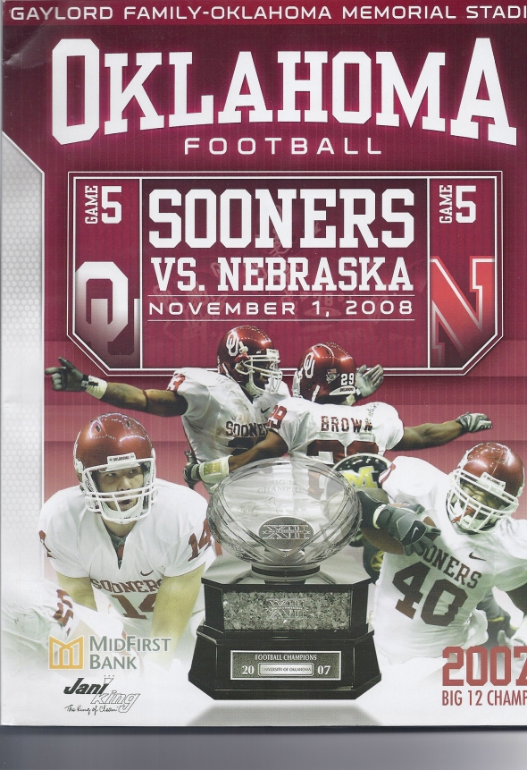 Front Cover of the 2008 Oklahoma Sooners Vs Nebraska Football Game Program