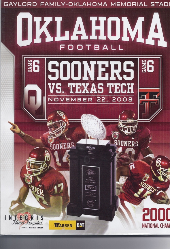 Front Cover of the 2008 Oklahoma Sooners Vs Texas Tech Football Game Program