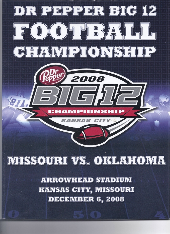 Front Cover of the 2008 Oklahoma Sooners Vs Missouri Football Game Program