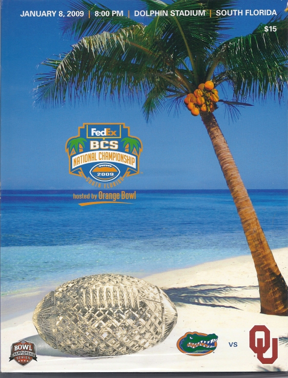 Front Cover of the 2008 Oklahoma Sooners Vs Florida Football Game Program