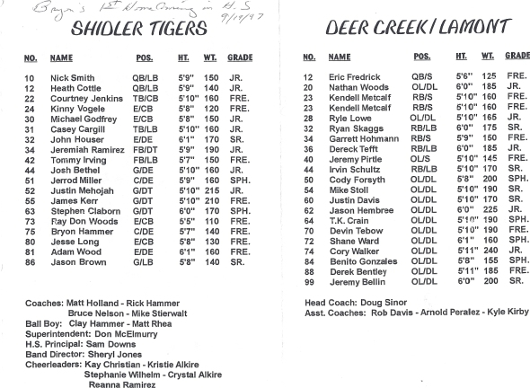 Pages 1 and 2 of the 1997 Shidler High School Vs DCLA Football Game Program