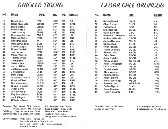 Pages 1-2 of the 1998 Shidler High School Vs Cedar Vale Football Game Program