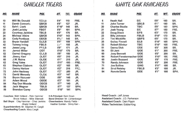 Page 1 and 2 of the 1999 Shidler High School Vs White Oak Football Game Program