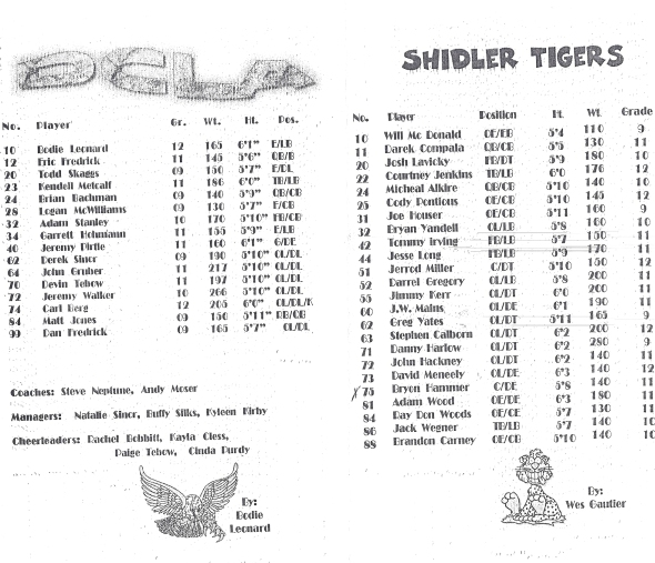 Page 1 and 2 of the 1999 Shidler High School Vs Deer Creek-Lamont Football Game Program