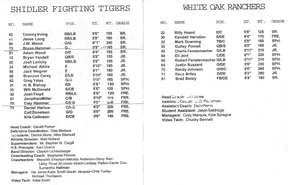 Page 1 and 2 of the 2000 Shidler Tigers Vs White Oak Football Game Program