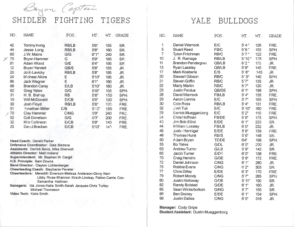 Page 1 and 2 of the 2000 Shidler Tigers Vs Yale Football Game Program