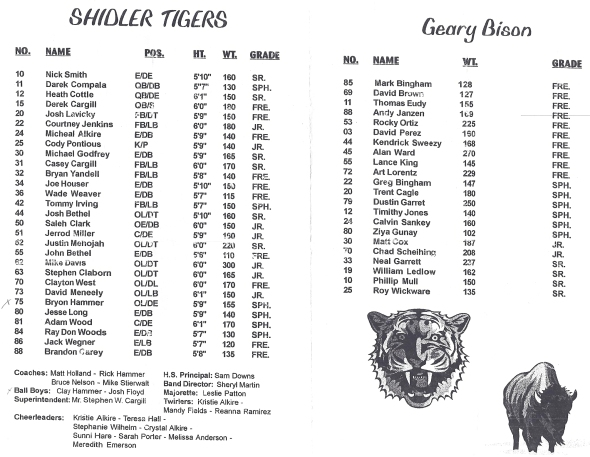 Pages 1 and 2 of the 1998 Shidler High School Vs Geary Football Game Program