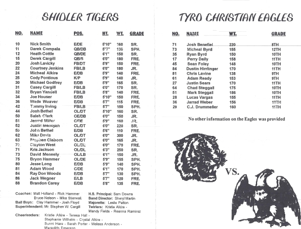 Pages 1 and 2 of the 1998 Shidler High School Vs Tyro Football Game Program
