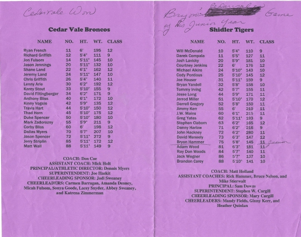 Page 1 and 2 of the 1999 Shidler High School Vs Cedar Vale Football Game Program