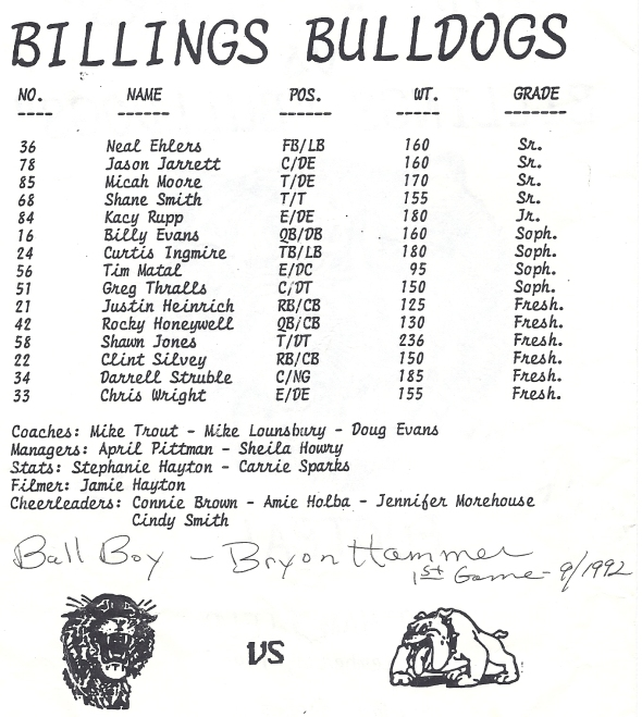 Page 1 of the 1992 Shidler High School Vs Billings Program