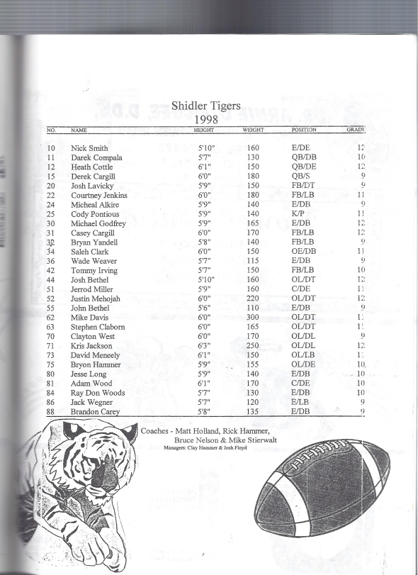 Page 1 of the 1998 Shidler High School Vs Webbers Falls Football Game Program