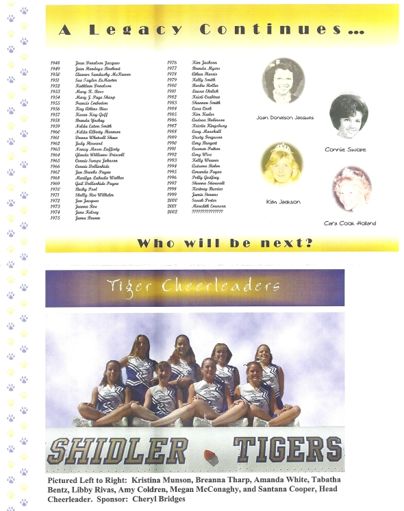 Page 1 and 2 of the 2002 Shidler Tigers Vs Waynoka Football Game Program