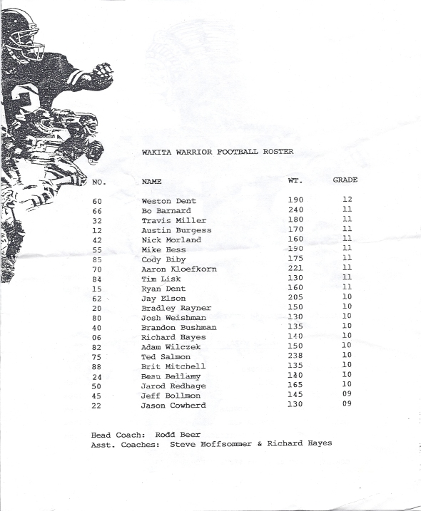 Page 2 of the 1997 Shidler High School Vs Wakita Football Game Program